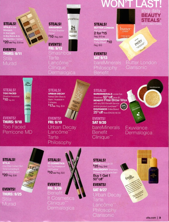 ulta 21 days fall 2014 ebb log