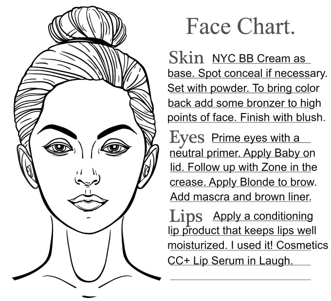 everyday beauty blog everyday glam face chart